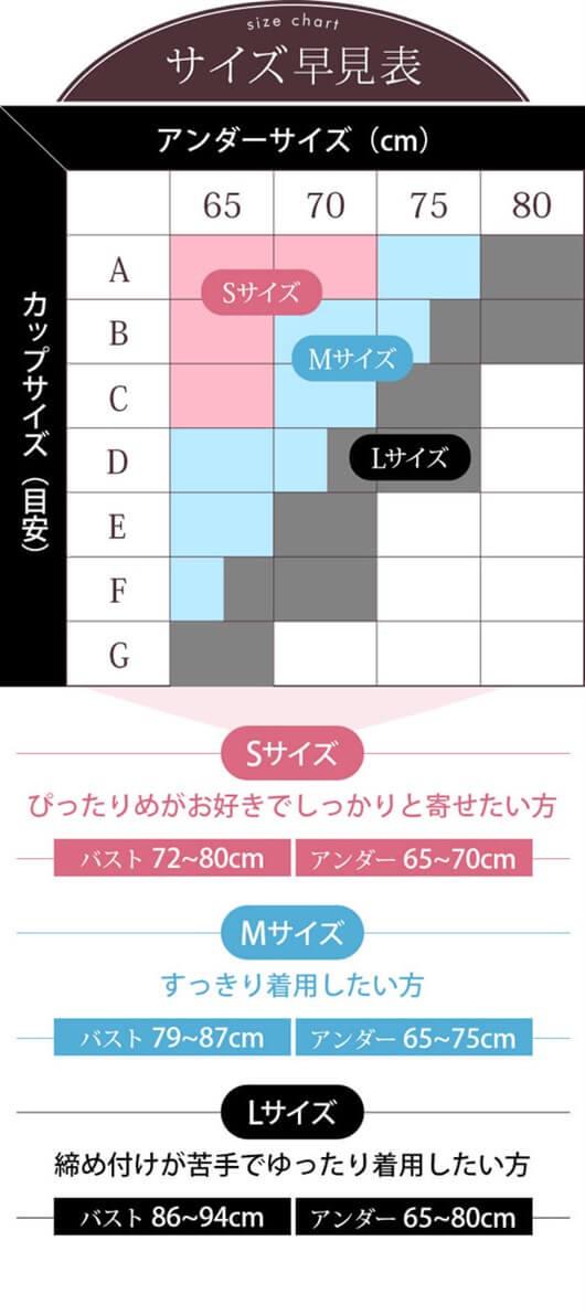 シンデレラナイトブラサイズ表