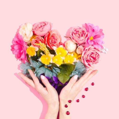 ハートにかたどったお花